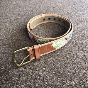 FOSSIL Leather Mutli-color Patchwork Belt Boho
